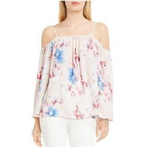 Vince Camuto Tops - Vince Camuto- Semi sheer floral cold shoulder, S